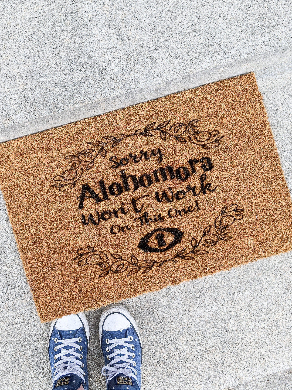 Hogwarts Alohomora Spell Door Mat Front Doormat In 2020 Door Mat
