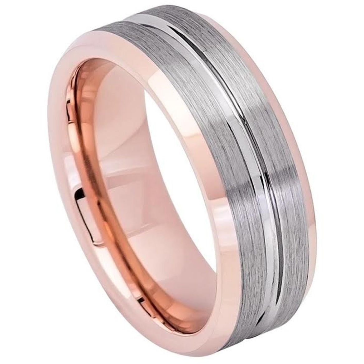 8mm Tungsten Ring Men Women Wedding Band TR743 | Products ...