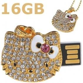 BLING HELLO KITTY FLASH DRIVE & NECKLACE 16 GB-GOLD