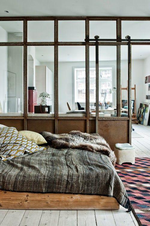 Copenhague / Chambre avec verrière / | Bedrooms, Interiors and Doors