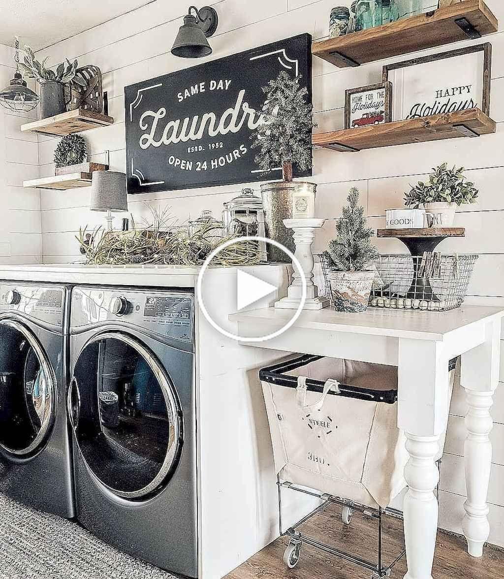 30 Modern Farmhouse Laundry Room Decor Ideas In 2020 Laundry