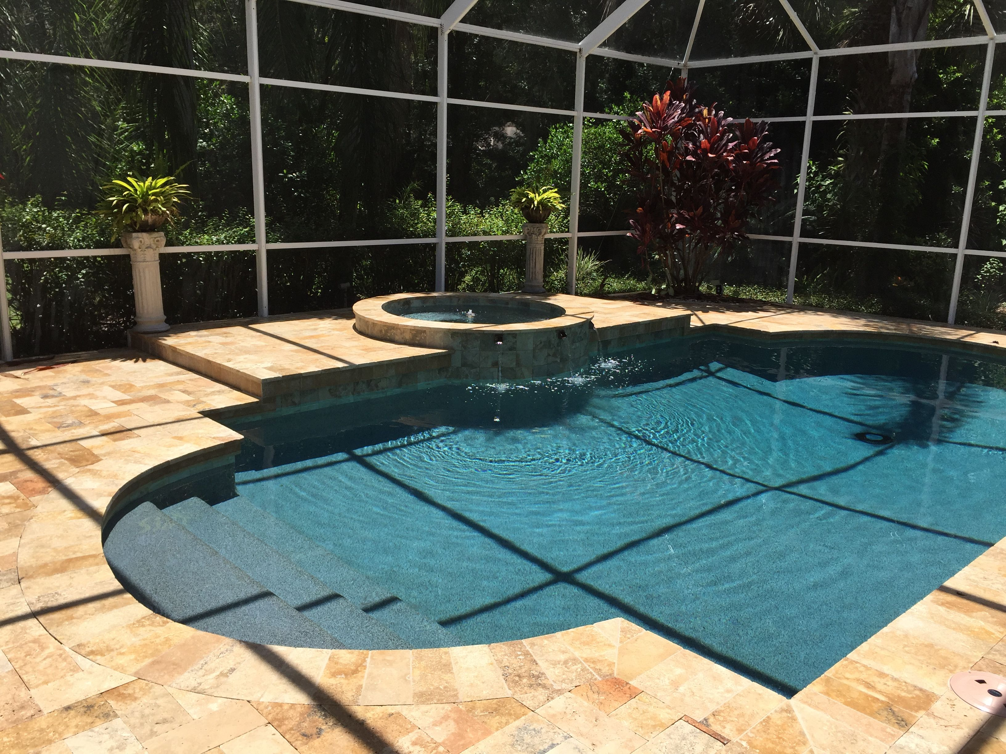 New Pool With Custom Natural Rock Waterfall, Fire Feature And