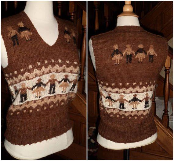 a434ba8b55 ALPACA F0LKART VEST XS La Gringa Hand Knit Friendship Sweater Peru ...