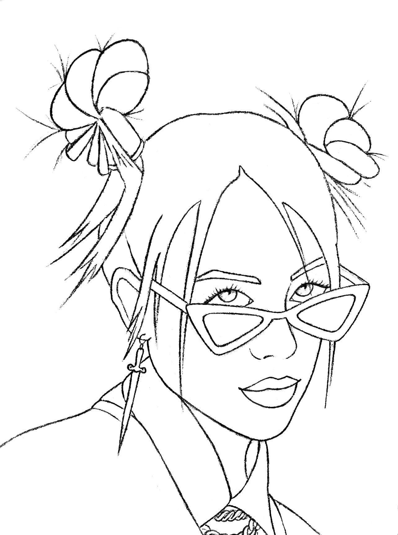 Coloring Pages To Print Out Coloring Pages Billie Eilish Print Out Talented Singer Coloring Pages Drawings Monster Truck Coloring Pages