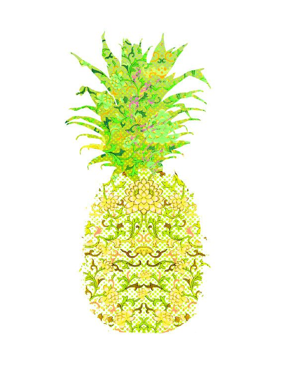Printable Art Print Fresh Pineapple Yellow by gLaMaPeeL | i found ...