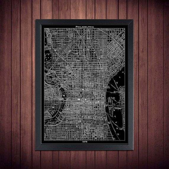 Philadelphia Map Print Black And White Philly Wall Art Etsy Philadelphia Poster Art Philadelphia Map