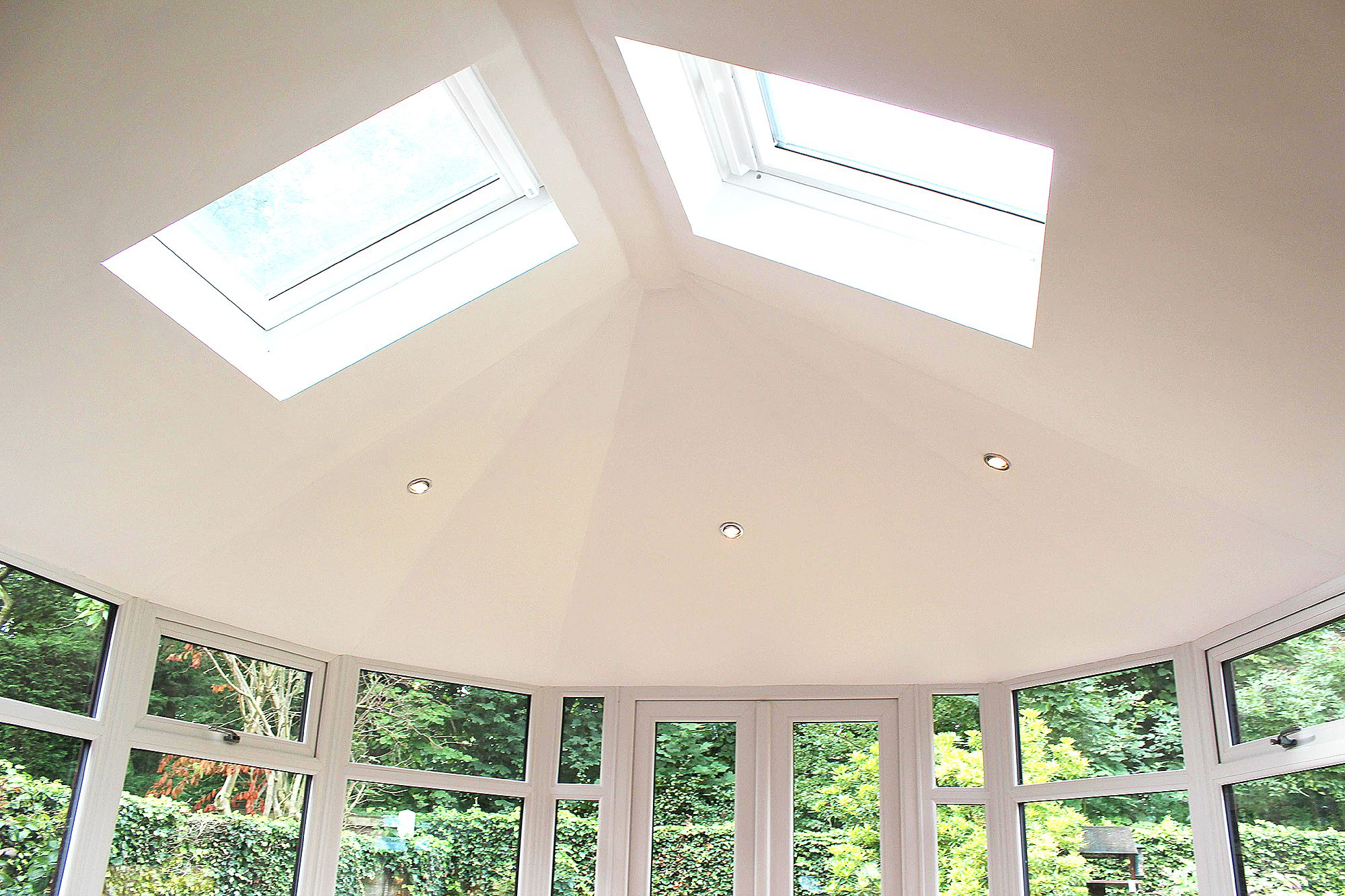 Internal View Of The Supalite A Tiled Conservatory Roof With Chrome Downlights Dekea Roof Vents Si Tiled Conservatory Roof Conservatory Roof Velux Windows