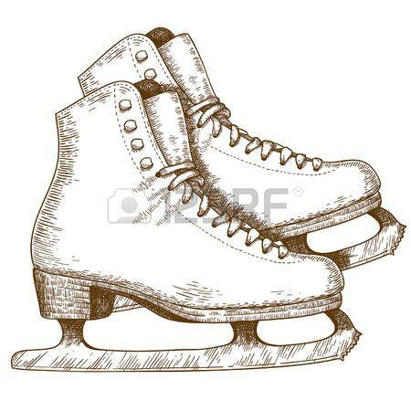pattinare: Incisione illustrazione antico di scarpe