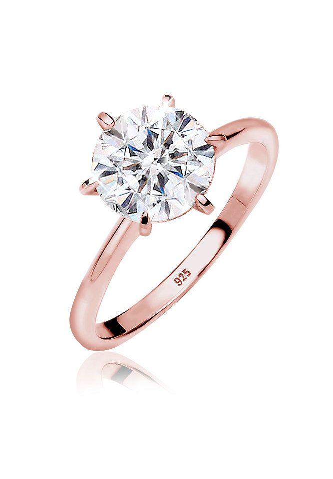 Diamantring rotgold  Elli Ring »ROSÉGOLD Verlobungsring Solitär Silber ...