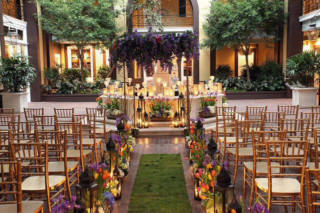 French Quarter courtyard wedding ceremony at
