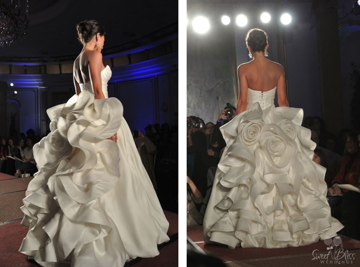 Pnina Tornai silk ball gown features floral details on the back ...
