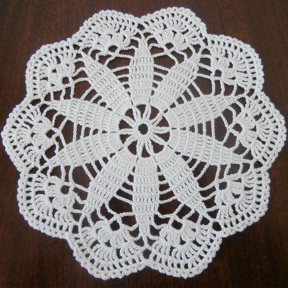 White Round Doily, Round Crochet Doily, 7 inches, Home Decor, Lace ...