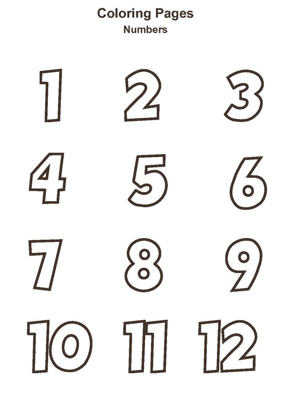 Number Coloring Pages 1 12 Coloring Pages To Print Coloring Pages Time Worksheets