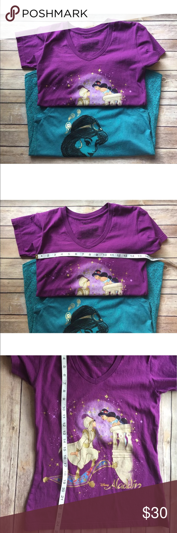 Disney Aladin and Jasmine shirts size small In excellent condition no stains rips or holes. The Aladdin and jasmine shirt might show signs of stretching in the graphics. Disney Tops Tees - Short Sleeve