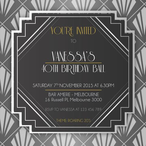 S Birthday Digital Printable Invitation Template Art Deco - 1920s party invitation template