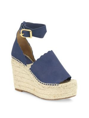 d28ac33a52c CHLOÉ Lauren Suede Ankle-Strap Espadrille Wedge Sandals.  chloé  shoes   sandals