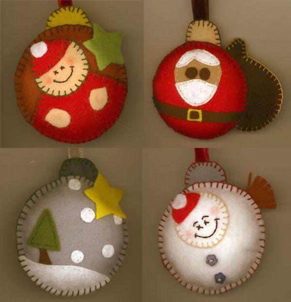 Palline di Natale in feltro fai da te n.45