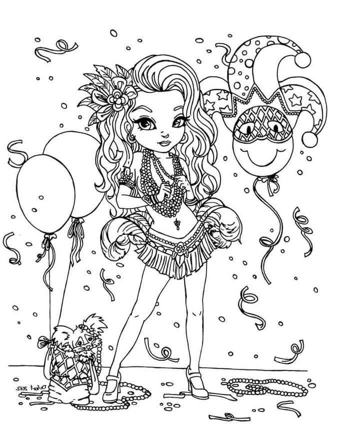 Mardi Gras Celebration Coloring Pages. in 2020 | Coloring ...