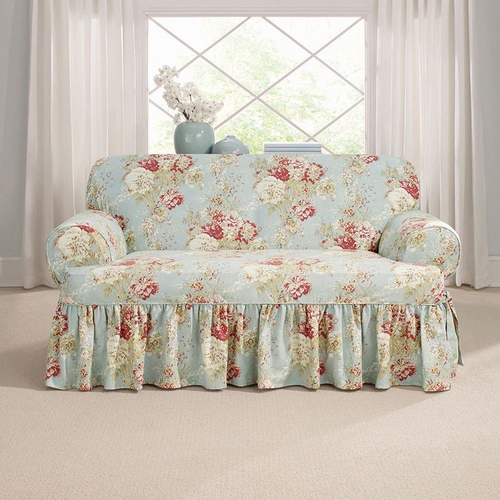 Sure Fit Waverly Ballad Bouquet T-Loveseat Slipcover, Blue ...