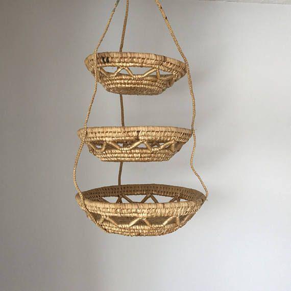 Vintage Hanging Basket Wicker Baskets Plant Hanger