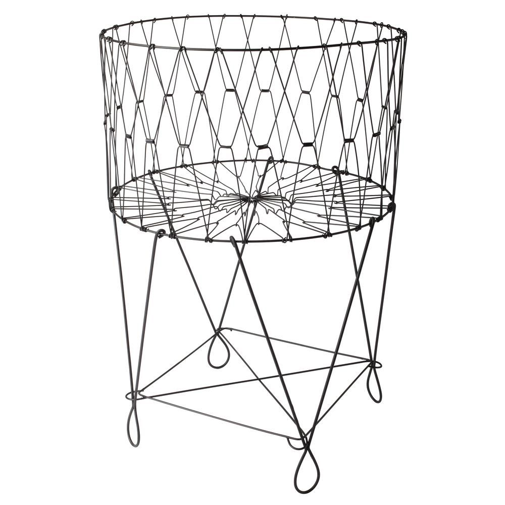 Kindwer 27 In X 40 In Vintage Black Wire Laundry Basket Hamper