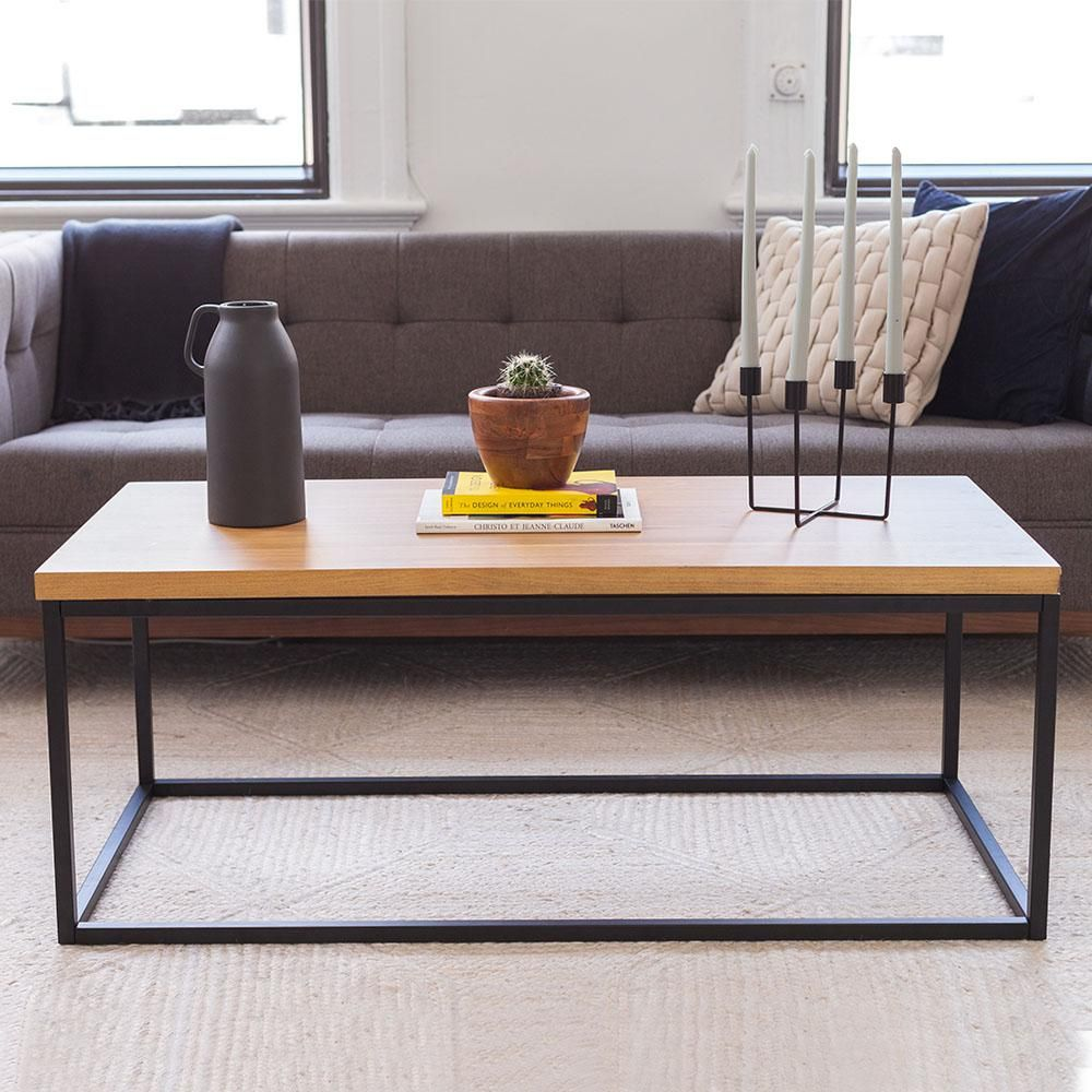Nathan James Doxa Natural Oak With Matte Black Metal Frame Coffee Table Natural Oak Coffee Table Wood Modern Industrial Coffee Table Modern Wood Coffee Table [ 1000 x 1000 Pixel ]