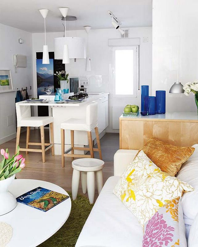 Combined Kitchen And Living Room Interior 17177: Combined Kitchen And Living Room. Eat At The Counter