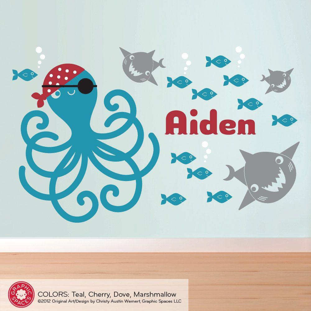 Pirate Octopus Wall Decal: Ocean Fish Sharks U0026 Name Kids Nursery Baby  Children. $65.00