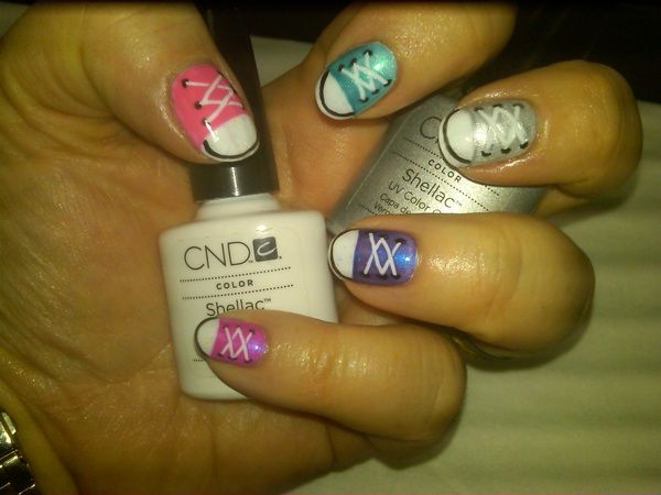 Pinterest Inspired Sneaker Nails Done With Cnd Shellac