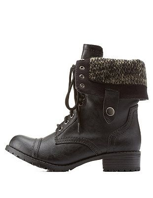 70131f39c size 9 Sweater-Lined Foldover Combat Boots: Charlotte Russe ...