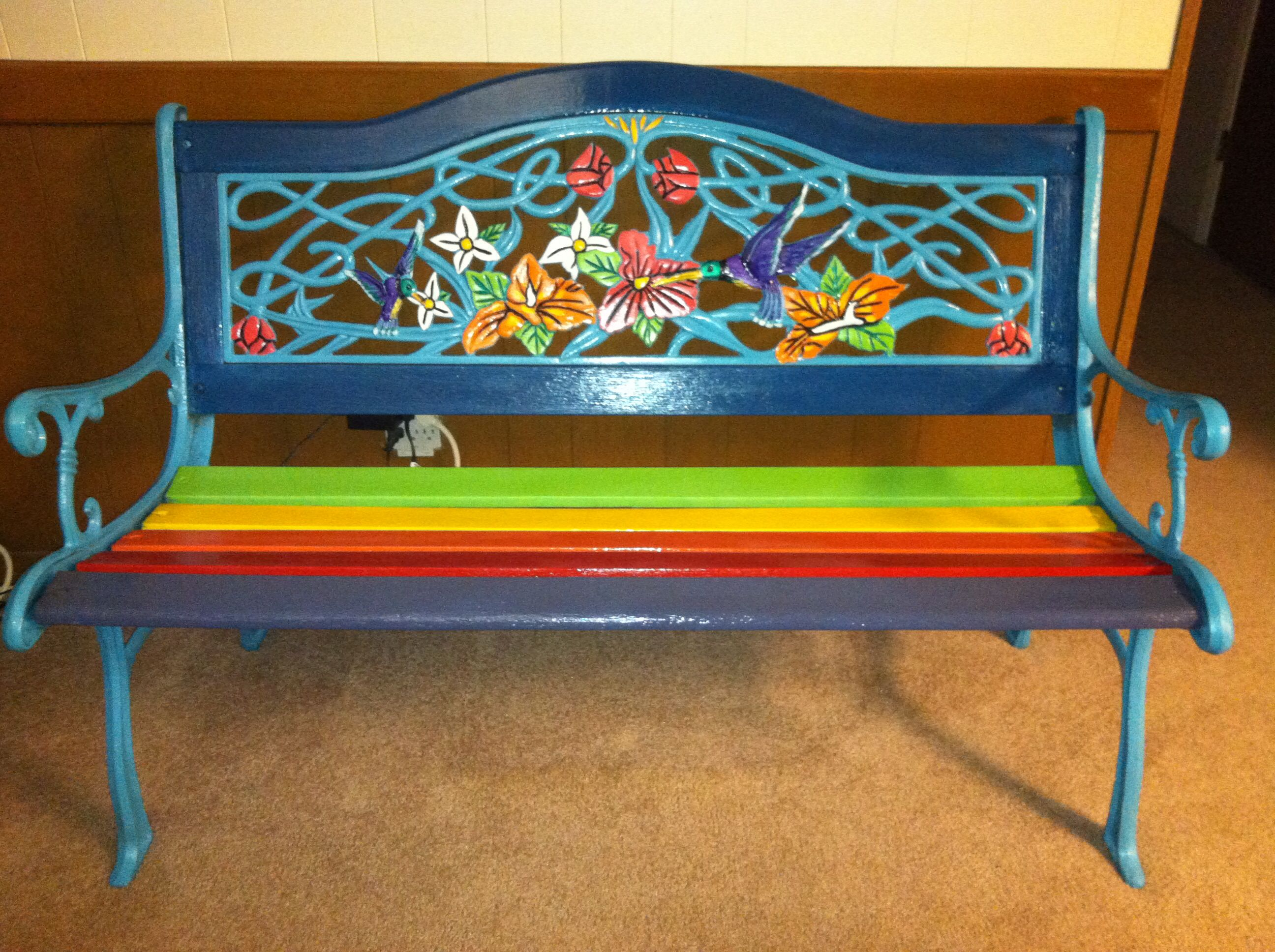 Hand Painted Rainbow (cast Iron) Bench I Refurbished For My Friend Maritza  Justiniano! Wrought Iron BenchGarden ...