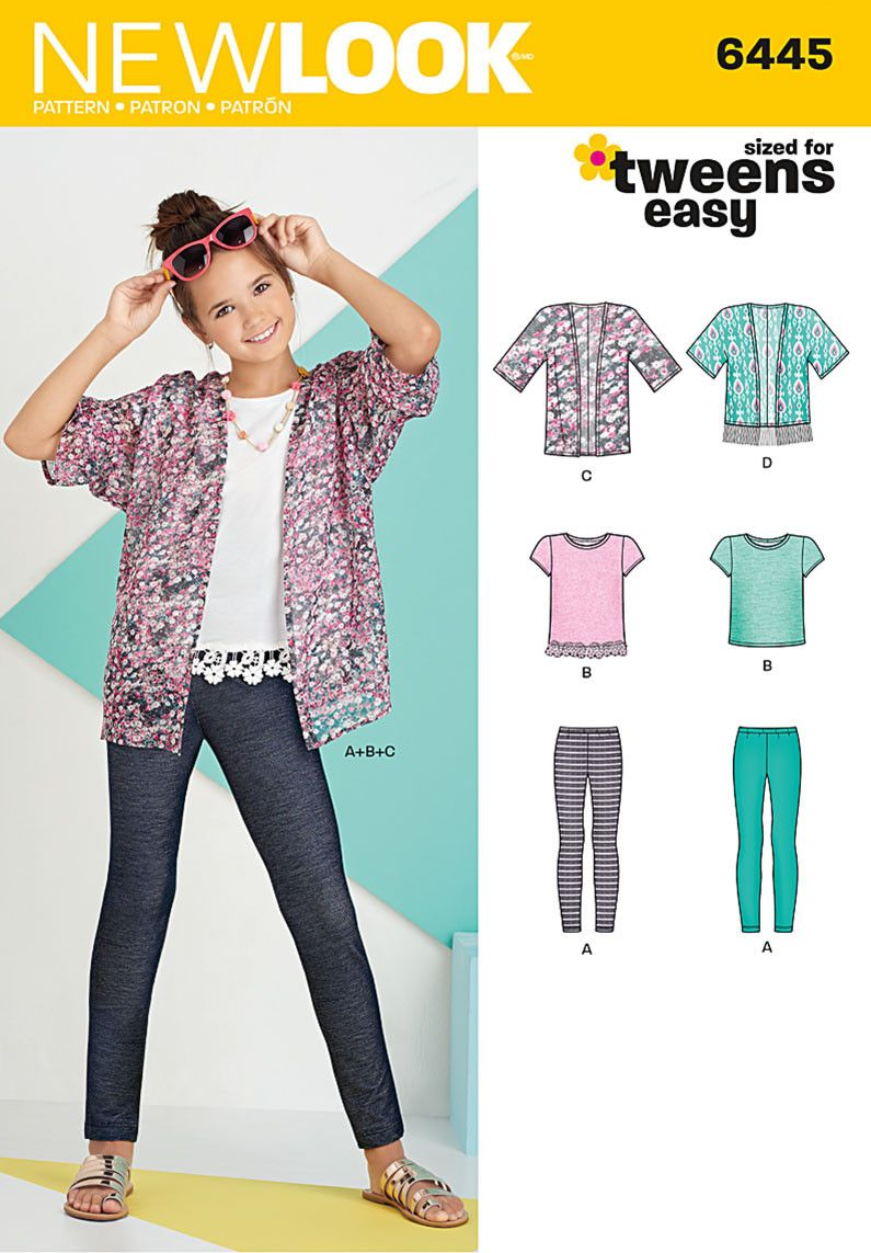 New look 6445 easy girls kimono knit top and leggings pattern new look 6445 easy girls kimono knit top and leggings pattern jaycotts jeuxipadfo Choice Image