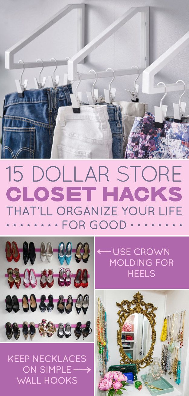 2905eaa260457 15 Dollar Store Closet Hacks If You Have Way Too Much Shit