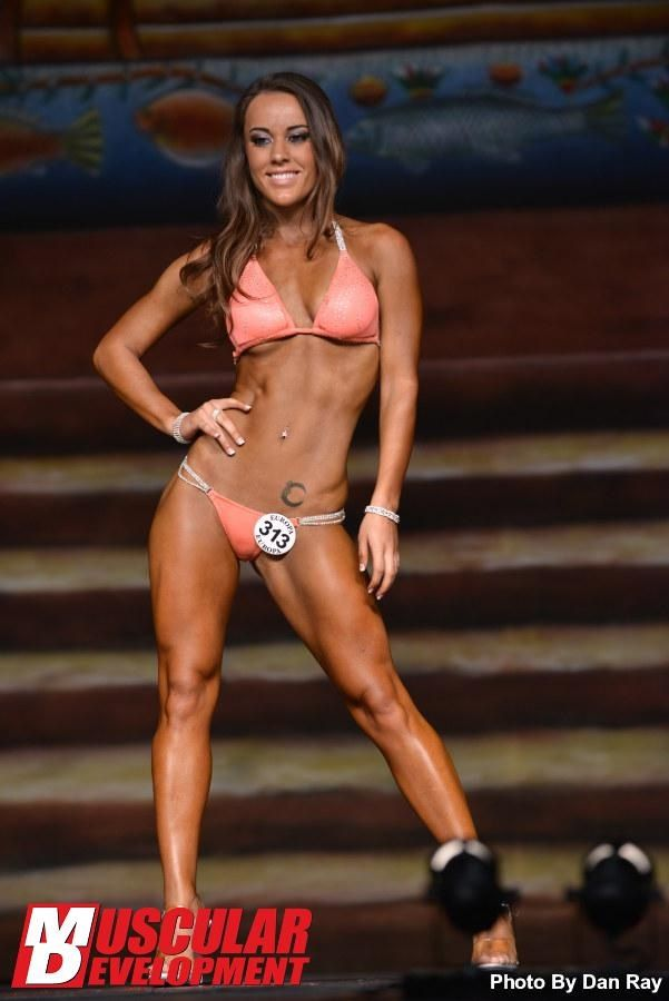 Coral bikini by Barelyvisible com IFBB NPC Contest