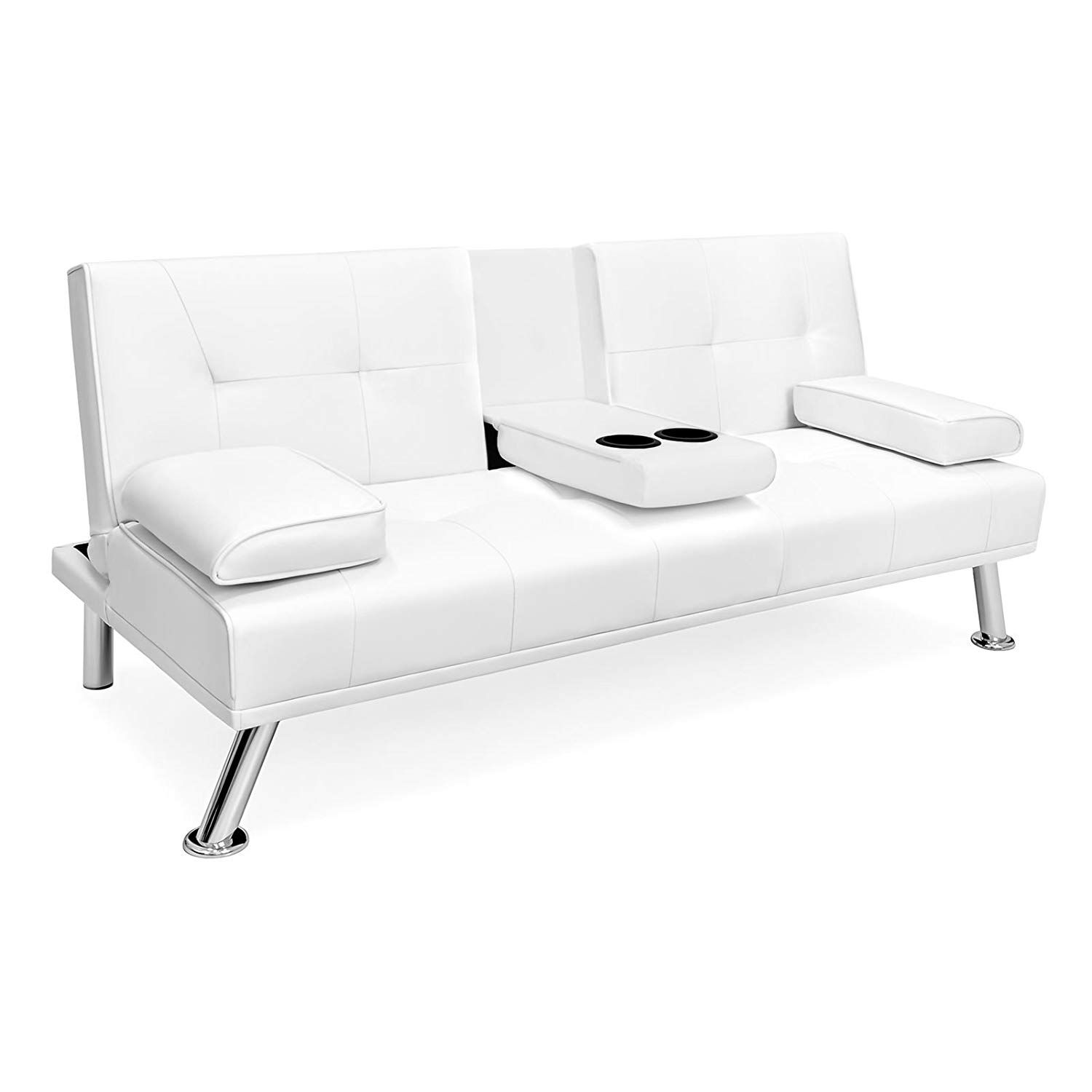 White Faux Leather Entertainment Convertible Futon Sofa Bed Cup