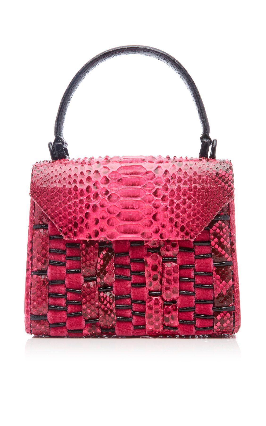 5ce50c8cd219 Lily Mini Woven Python Top Handle Bag by Nancy Gonzalez FW19 | Moda Operandi