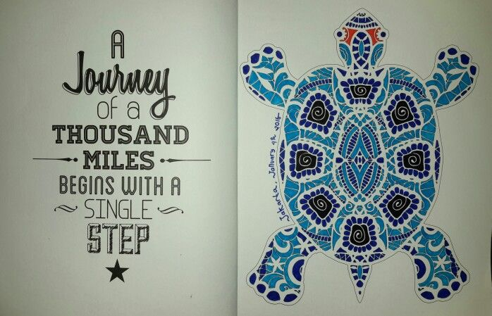 Coloring Book For Adults My Own World Antistress Renebook Turtle Blue