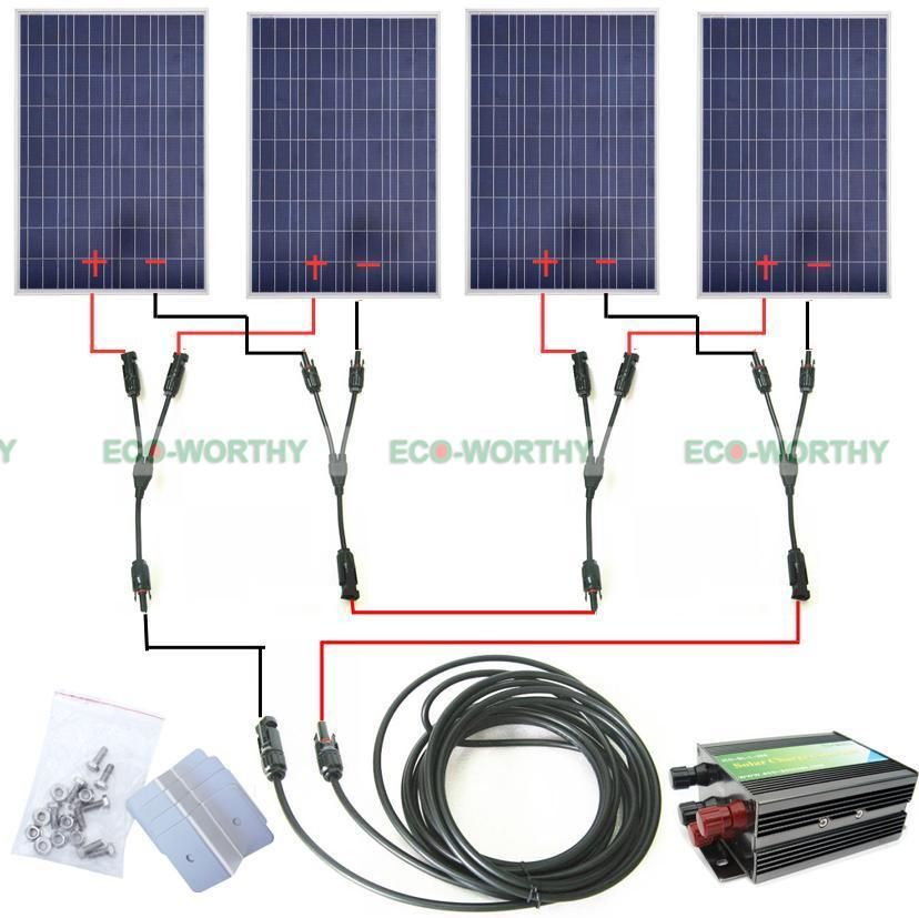 400Watts Solar Module Kit 4 100W PV Solar Panel for 24V