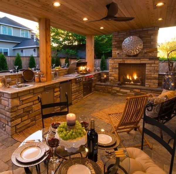 Rustic Outdoor Fireplaces, Outdoor Patios With Fireplaces Design