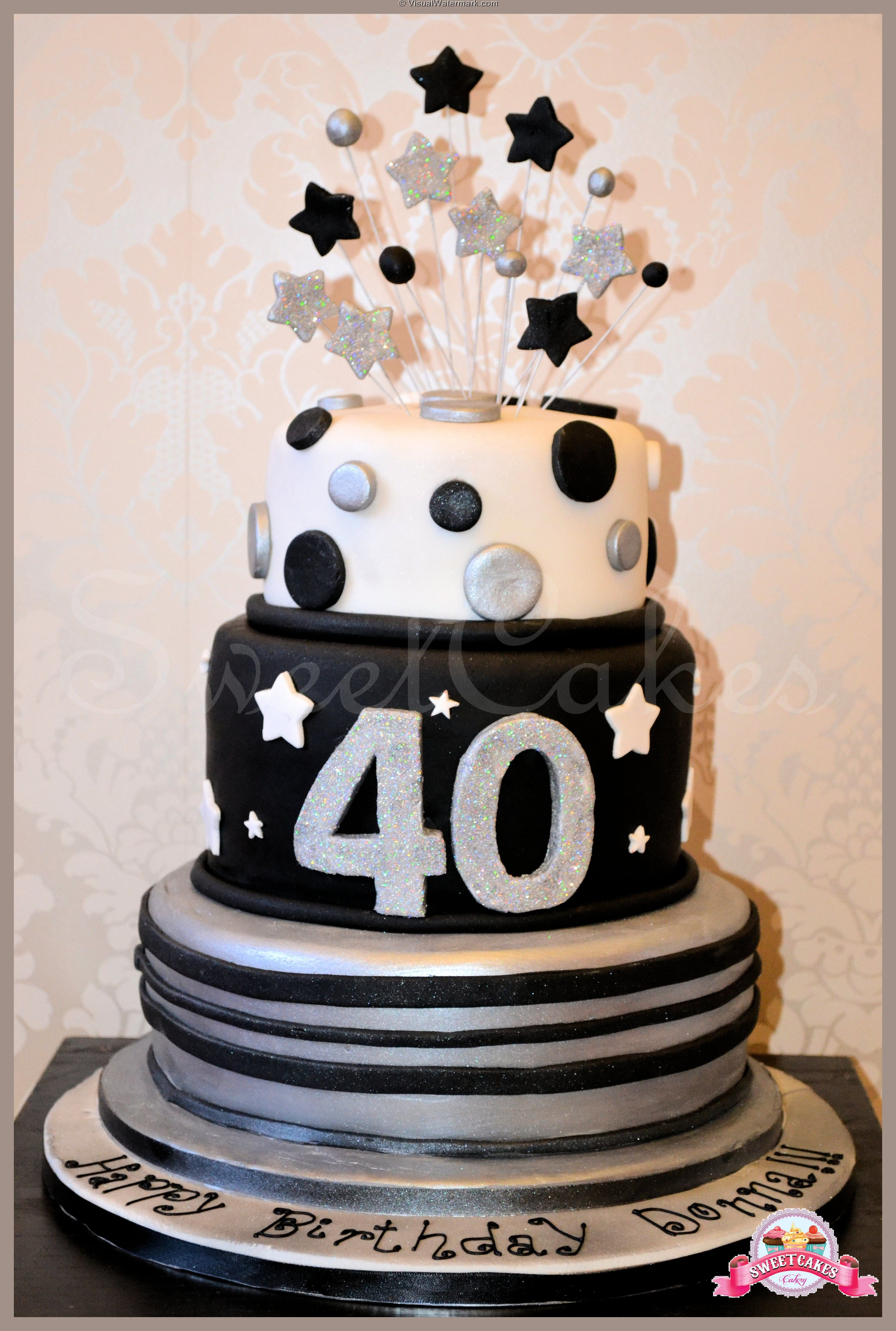 Marvelous 3 Tier Black Silver 40Th Birthday Cake With Images Tiered Funny Birthday Cards Online Aeocydamsfinfo