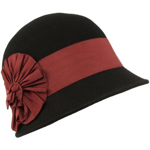 2ce7d73af1c Wool Winter Cloche Bucket Bell Ribbon Bow Hat Black with Wine Hatband