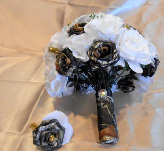 Mossy Oak Camo White Silk Flower Bullet Bouquet Camo Wedding
