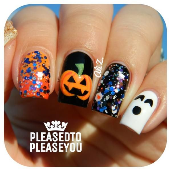 These Halloween nails are absolutely PERFECT. Glitter Pumpkin and Ghost  Halloween Nail Art. Nails by IG - Pumpkin Halloween Nail Art Http://nailitmag.com/nail-designs