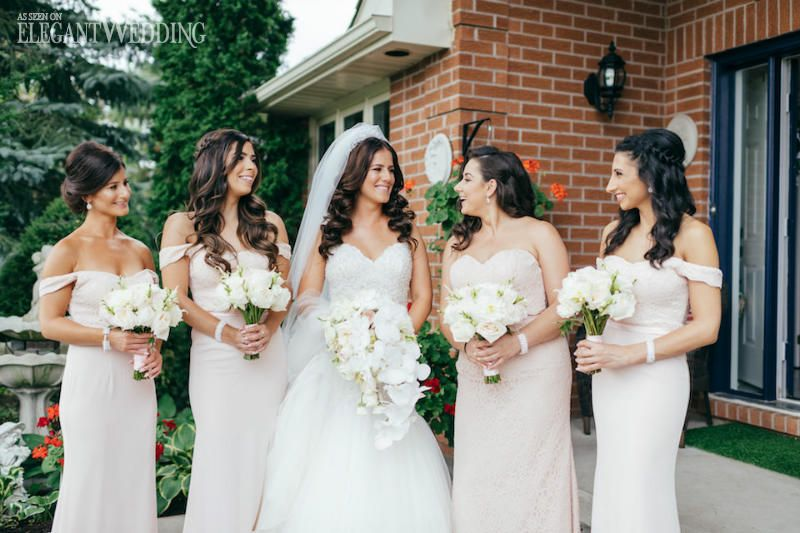 Traditional White Wedding With Silver Details Bridesmaid Dresses