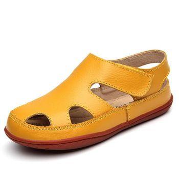 88fb688c31 Superior Qiality Niños Sandalias de Cuero Genuino Niños Zapatos Respirables  Del Recorte Pisos Sandalias Para Niños Niñas Verano Sandalia