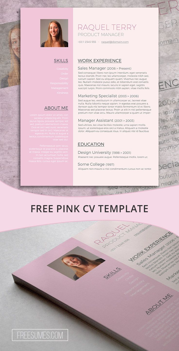 pin by fancy resumes on resume templates cv word resume template for the ladies pretty in pink