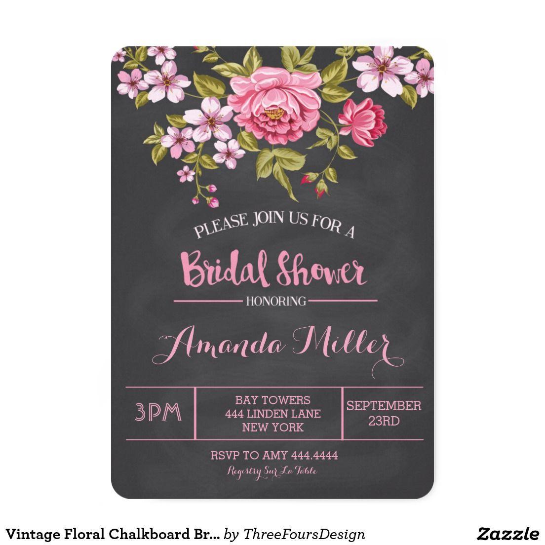 Vintage Floral Chalkboard Bridal Shower Invitation | Pinterest ...
