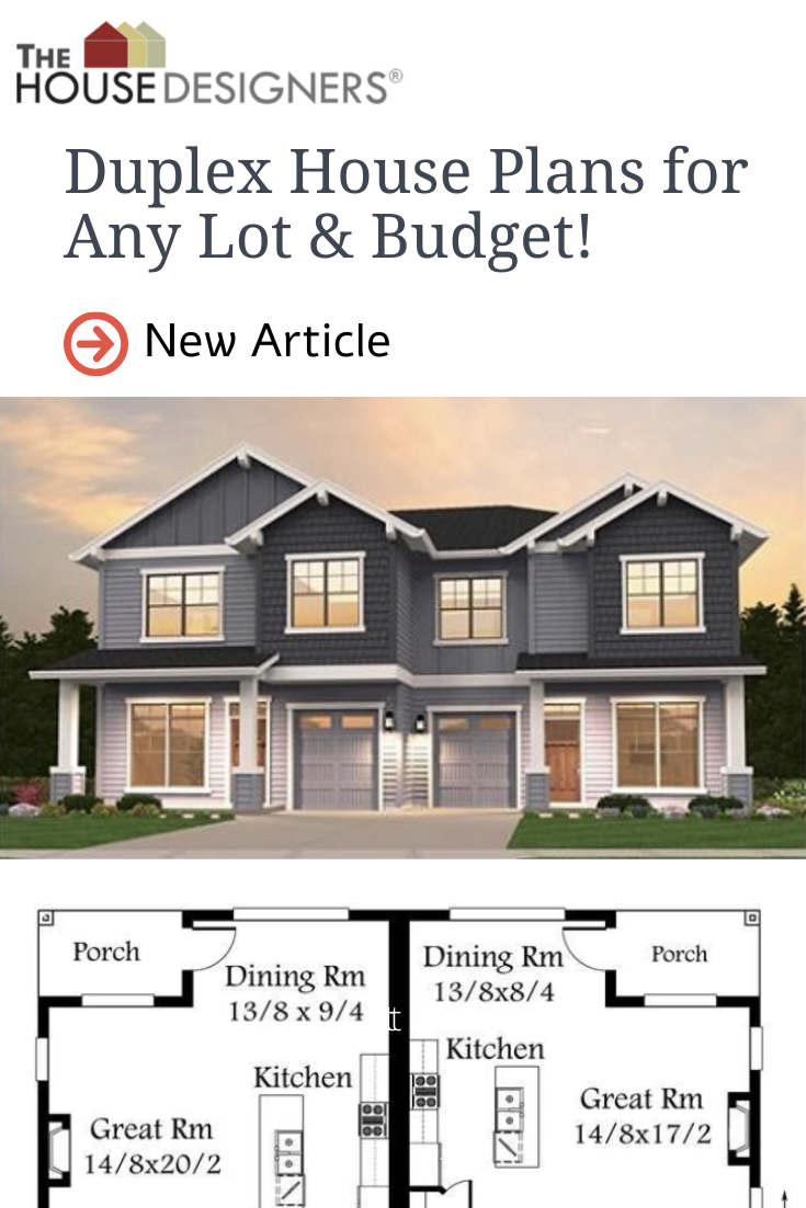 Duplex House Plans For Any Lot Budget Duplex House Plans House Plans Duplex House