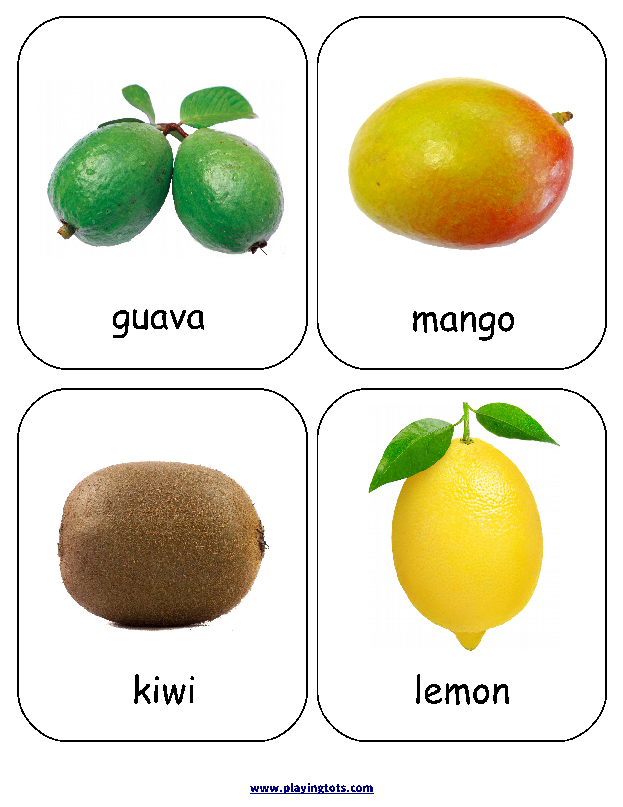 Free Printable Fruits Flash Cards Mit Bildern