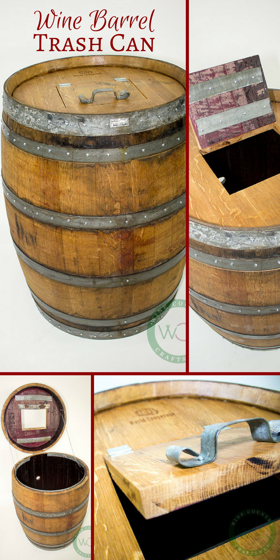 Cute Trash Cans Made Entirely From A Retired Wine Barrel So Unique Rustic Ad Wine Barrel Barrel Projects Rec Room Decor